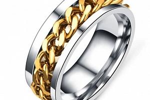 Prsten z chirurgické oceli s řetězem- zlatý SR125 Velikost: 10...