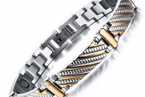 Magnetický náramek z oceli SHINY- stříbrnozlatý ON29...