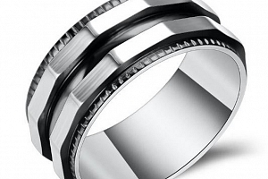 Prsten zkosený z chirurgické oceli- stříbrnočerný SR128 Velikost: 12...