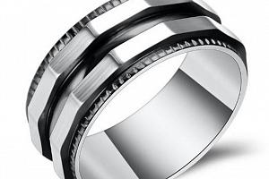 Prsten zkosený z chirurgické oceli- stříbrnočerný SR128 Velikost: 8...