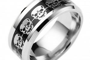 Prsten s lebkami z chirurgické oceli- stříbrnočerný SR138 Velikost: 12...