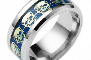 Prsten s lebkami z chirurgické oceli- stříbrnomodry SR139 Velikost: 7...
