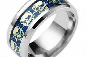 Prsten s lebkami z chirurgické oceli- stříbrnomodry SR139 Velikost: 13...