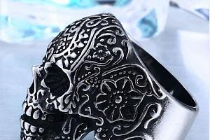 Prsten - lebka z chirurgické oceli SR130 Velikost: 11...