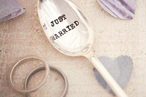 Postříbřená čajová lžička Just Married...