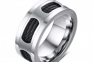 Prsten z chirurgické oceli a černého lanka z chirurgické oceli SR143 Velikost: 10...