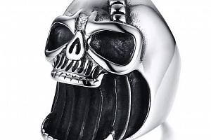 Prsten - lebka z chirurgické oceli ve stříbrné barvě SR141 Velikost: 10...