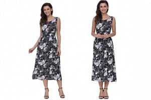 šaty s motivem listů černobílé...