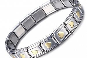 Roztažitelný náramek z chirurgické oceli ve stříbrné barvě se srdíčky SSB111...