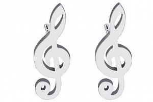 Dámské náušnice- pecičky ve tvaru houslového klíče z chirurgické oceli- 2 barvy SE93 Barva: Stříbrná...
