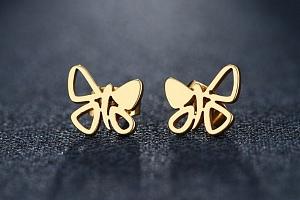 Dámské náušnice- pecičky ve tvaru motýla z chirurgické oceli- 2 barvy SE98 Barva: Zlatá...