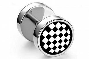 Náušnice z chirurgické oceli - motiv Šachovnice SE127...