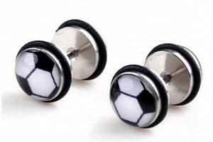 Pecičky z chirurgické oceli a silikonu- motiv Fotbal SE105...