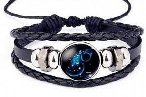 Znamení zvěrokruhu- náramek z kůže a korálky SSB134 Barva: Vodnář- Aquarius...