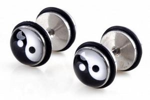 Pecičky z chirurgické oceli a silikonu- motiv Jin- Jang SE110...