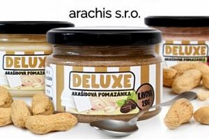 Arašídová pomazánka s bílou čokoládou, kávová či malinová...