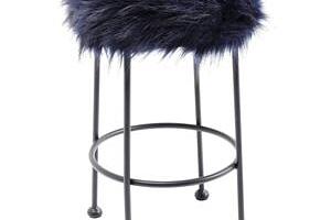 KARE DESIGN Stolička Ontario Fur - tmavě modrá, 30 cm...