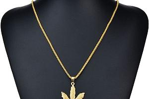 Řetízek s přívěskem marihuanového listu a poštovné ZDARMA!...