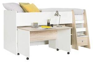 VYSOKÁ POSTEL, 90/200 cm, kompozitní dřevo, bílá, barvy dubu Carryhome - Dětské postele...