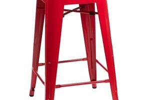 Barová židle PARIS 75cm červená inspirovaná Tolix...