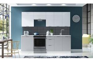 Dodání do 25 dní - Kuchyně SOHO 240 Bílý / Bílý lesk + Light Grey...