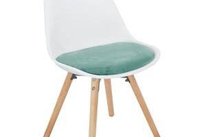Tempo Kondela Židle, mentolová sametová látka / bílý plast / buk, Semer NEW...