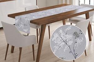 Škodák Bavlněný běhoun na stůl SIMONA vzor B-933 Bílé luční květiny na šedém - 35 x 140 cm...