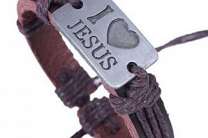 Ziskoun náramek z pravé kůže I love Jesus CB000066...