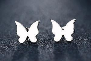 Dámské náušnice- pecičky ve tvaru motýla z chirurgické oceli- 2 barvy SE130 Barva: Stříbrná...