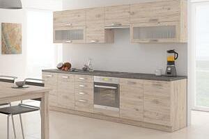 Přímá kuchyňská linka FALCON 260 cm dub bordeaux Bez pracovní desky...